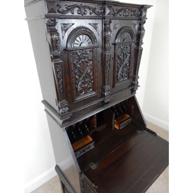 Antique Carved Solid Oak Jacobean Slant Front Desk - Image 5 of 11