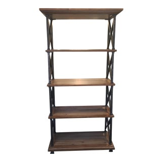 Distressed Iron and Wood Bookshelf