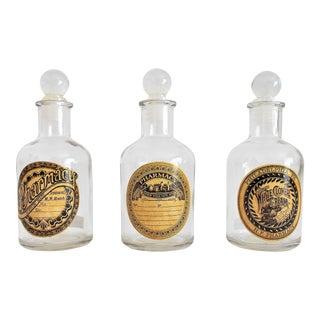 Vintage Glass Pharmacy Bottles - Set of 3