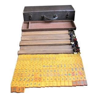 Vintage Mahjong Bakelite Butterscotch Set - 164 Pc