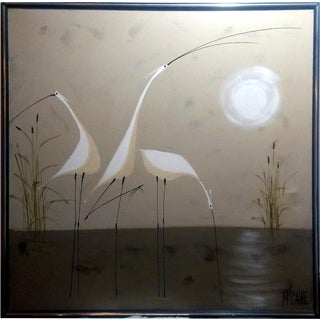 "McCaine ""White Herons"" Oil Painting"