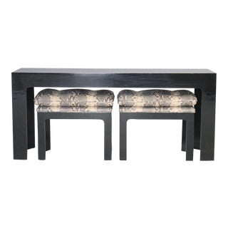 Parson Style Black Lacquered Console Table and Benches