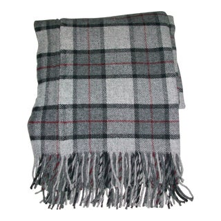 Cannon River Faribault Mill Gray Plaid Wool Throw Blanket