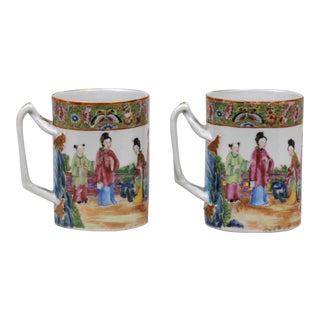 Pair Mandarin Famille Rose Mugs, Circa 1860