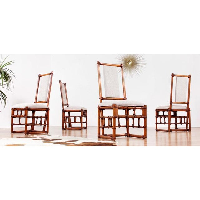 Restored Roped Rattan Dining Chairs - Set of 4 - Image 2 of 5