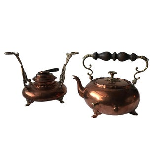 Antique Copper Tea Kettle & Burner Stand