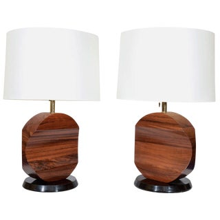 Sculptural Rosewood Lamps