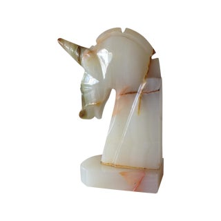 Vintage Italian Carved Marble Unicorn Bookend