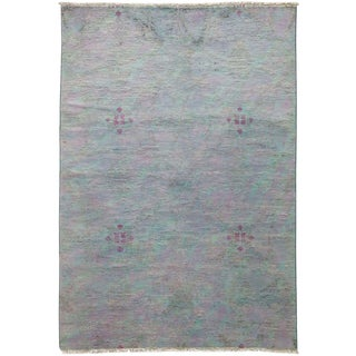 "Vibrance, Hand Knotted Contemporary Gray Wool Area Rug - 4' 2"" X 6' 0"""