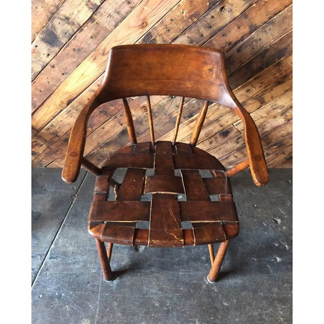 Vintage wood leather captain s chairs set of