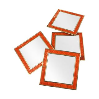 Orange Leather Croc Mirrored Coasters - Set of 4