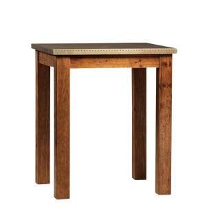 Industrial Metal Top Wooden Bar Table