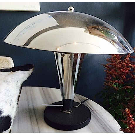 Mid-Century Industrial Chrome Table Lamp - Image 3 of 4