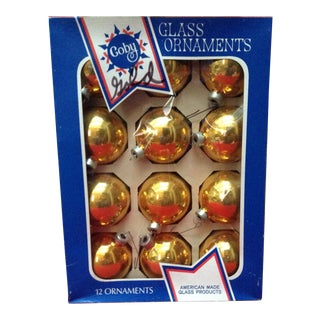 Coby Christmas Glass Ornaments, Made in America, in Original Box - Set of 12