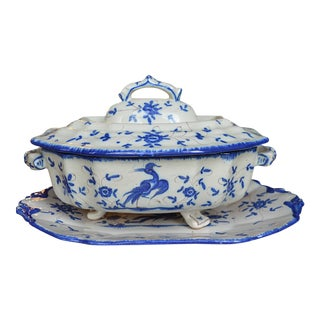 Antique French Ivory & Blue Soupier - 3 Pieces