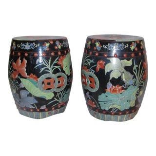 Colorful Chinoiserie Ceramic Garden Stools - A Pair