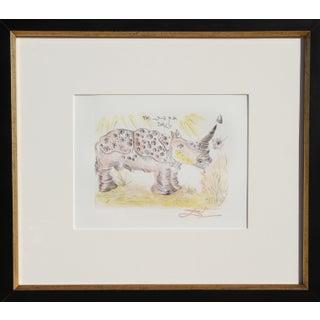 Salvador Dali - Rhinoceros Restrike Etching