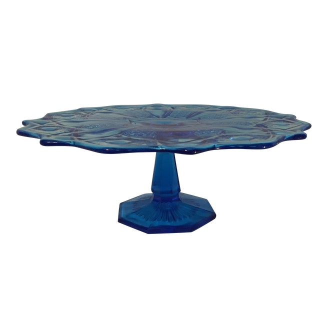 Blue Depression Style Glass Cake Stand - Image 1 of 6