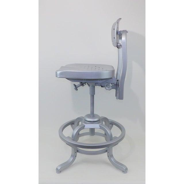 Good Form Mid-Century Modern Industrial Aluminum Drafting Swivel Stool Chair - Image 10 of 11