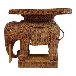 Vintage Rattan Wicker Elephant Side Table