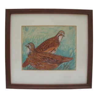 1940s Watercolor Painting of Two Quail Birds