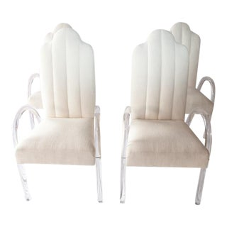 1970's Arched Lucite Dining Arm Chairs - Set of 4