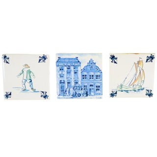 Collection of Klm Delft Ceramic Tiles - Set of 3