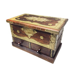 Antique Eastern European Wood & Brass Jewelry Box