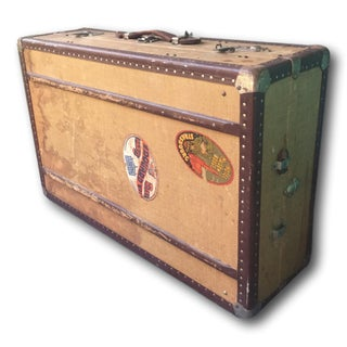 Vintage Steamer Trunk With Authentic French Stickers