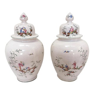 White Chinoiserie Urns - A Pair