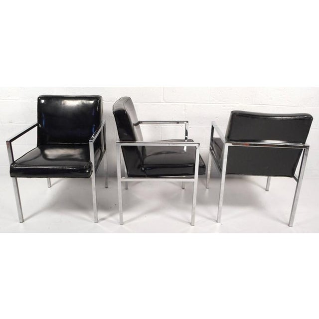 Image of Mid-Century Modern Vinyl and Chrome Dining Chairs - Set of 4