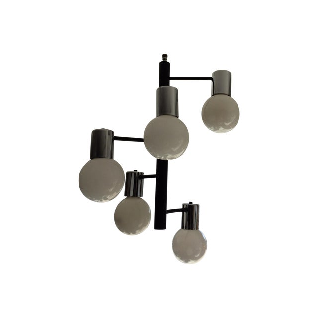 Image of Black & Chrome Spiral Globe Chandelier