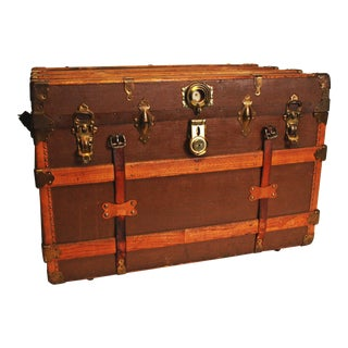 Antique Wood Ornate Steamer Trunk
