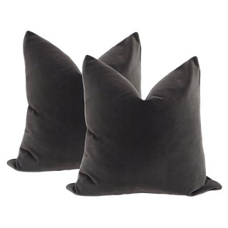 Charcoal Gray Velvet Pillows - A Pair