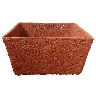 Burnt Orange Spaghetti-Spun Plastic Storage Bin