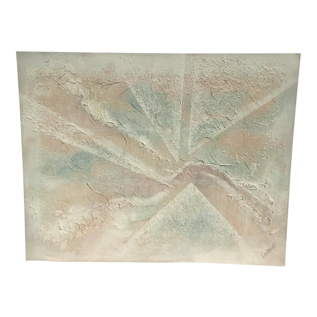 Extra Large- Lee Reynolds Sunrise Mid Century Modern Pastel Abstract Canvas Painting Signed - Image 1 of 11