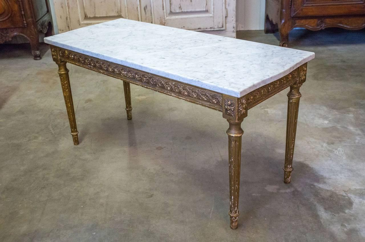 French Louis XVI Style Gilded Coffee Table With Marble Top   Image 4 Of 10