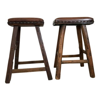 Hudson James Collection Antique Farmhouse Stools - A Pair