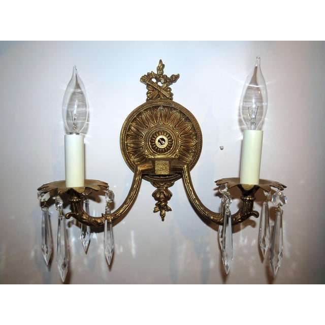 Dual Arm Crystal Prism Wall Sconce - Image 9 of 11