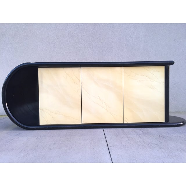 Curved Black Lacquer Credenza - Image 2 of 11
