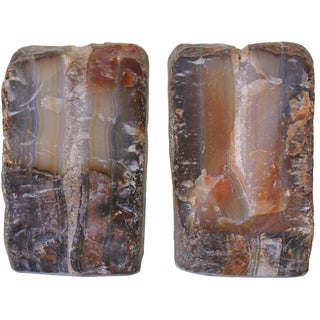 Striped Agate Bookends - A Pair