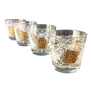 Libby Damask Lowball Glasses - Set of 4