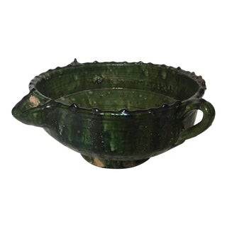 Green Moroccan Pottery Bowl With Handles and Pouring Spout