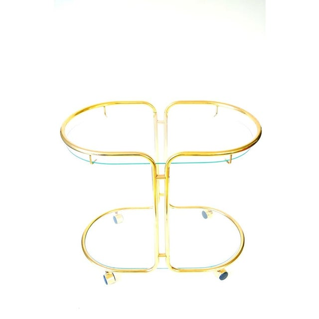 Image of Vintage Glass & Brass Oval Bar Cart