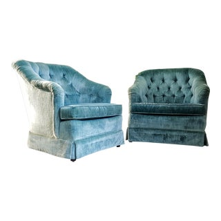 Hollywood Regency Mid-Century Velour Aqua Blue Club Chairs - A Pair