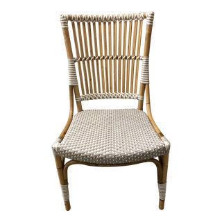 White Rattan Pole Side Chair