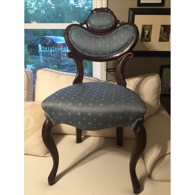 Antique Victorian Blue Parlor Chair - Image 2 of 6