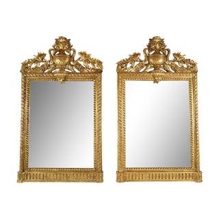 French Antique Louis XVI Giltwood Mirrors - Pair