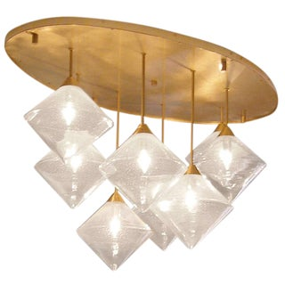 Customizable Brass and Glass Ceiling Fixture