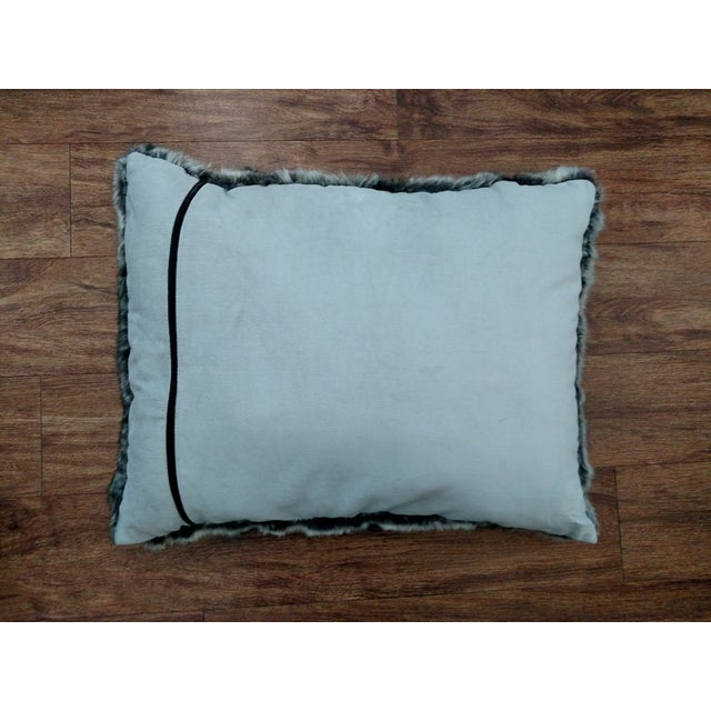 Faux Fur Pillow in Black & Gray - Image 3 of 3